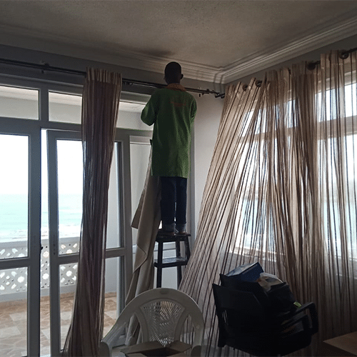 Curtain  removal & installation