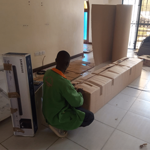 Packing of large items with special boxes